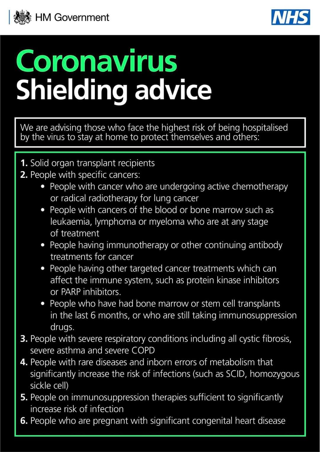 Coronavirus - shielding advice 1
