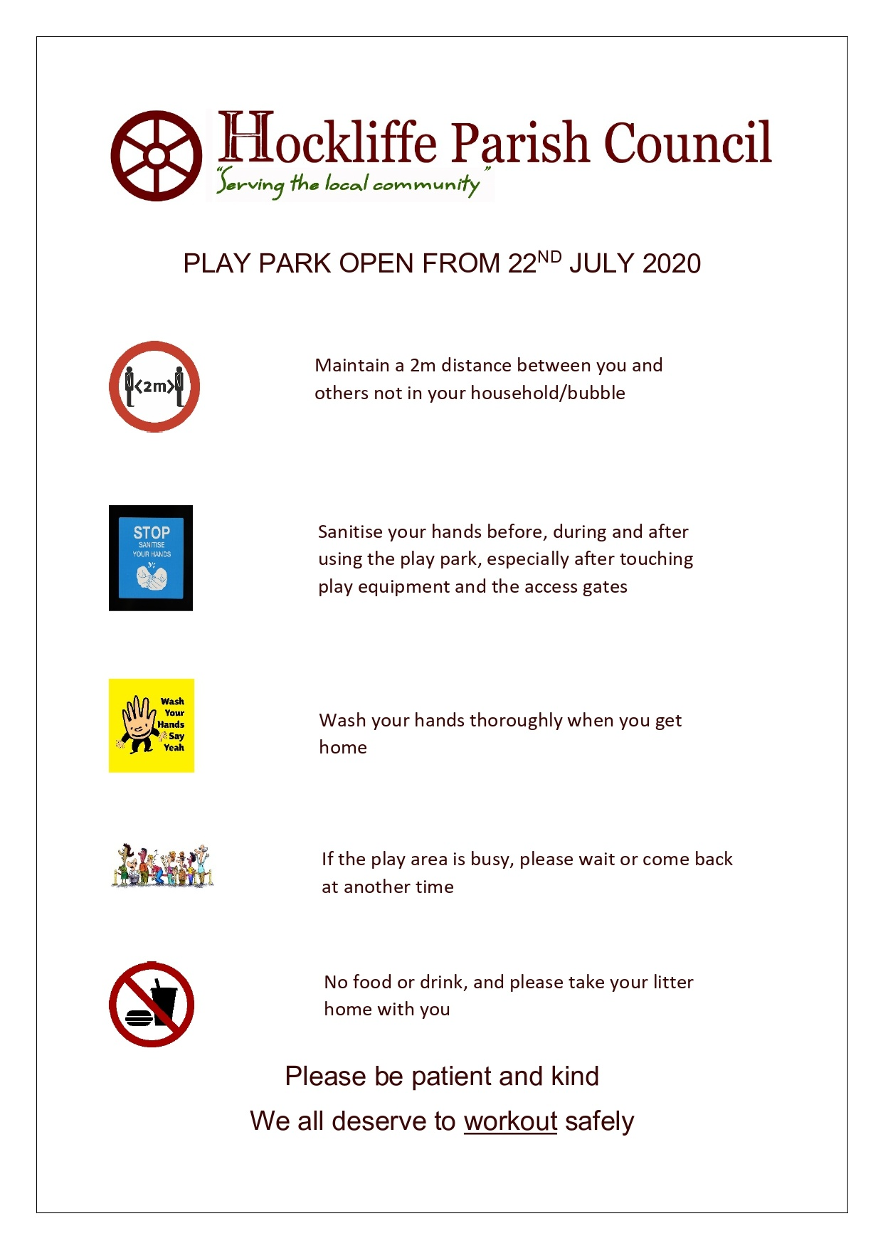 poster announcing the opening of the play park