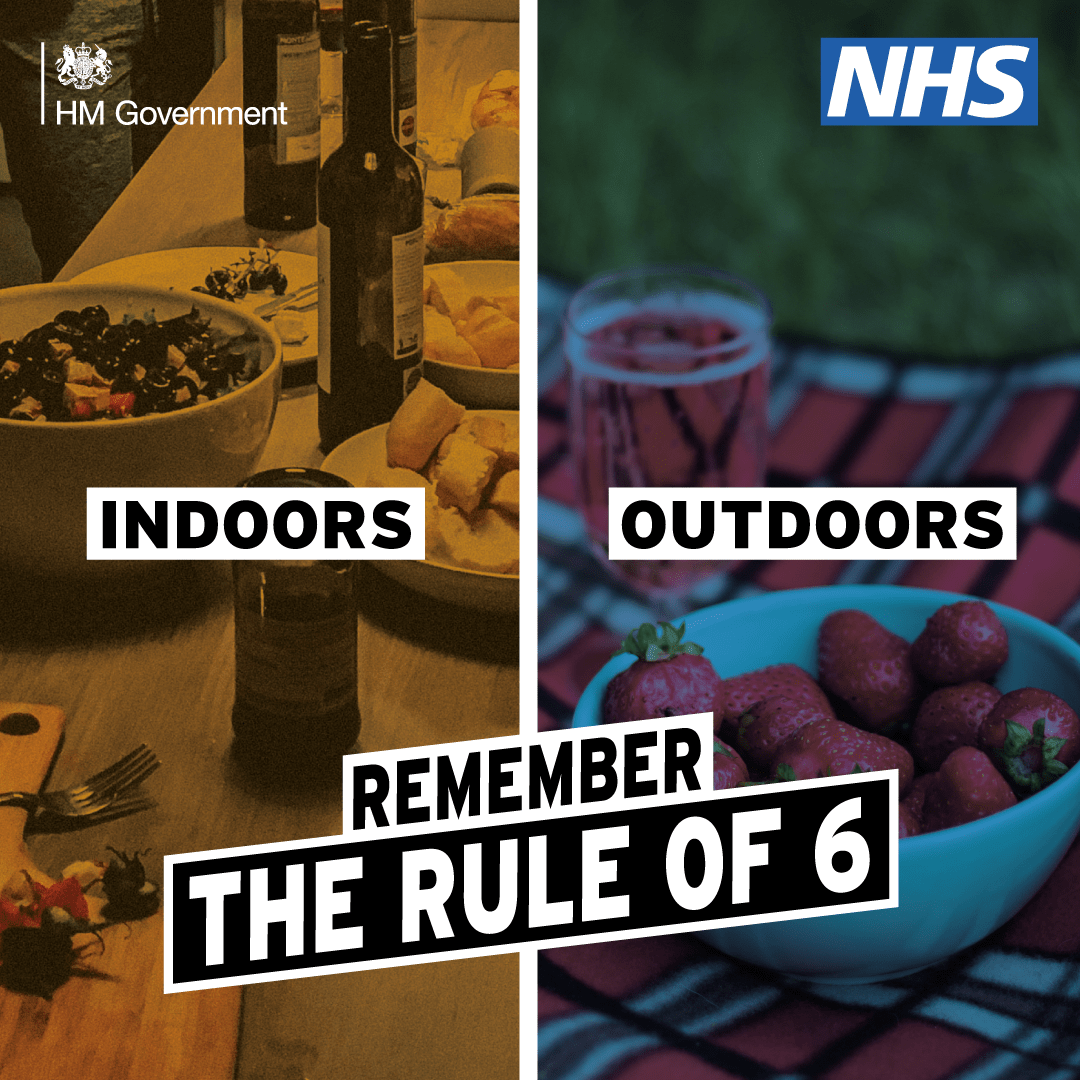 NHS poster - Rule of 6 - indoors and outdoors
